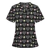 Covermason Women Short Sleeve V-Neck Tops Working Uniform Blouse Blus Camiseta con Redondo y Estampado de en de Manga Corta para Mujer Linda Camiseta de Estilo de Moda