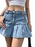 N / D Women's Fashion Slim A Line Ruffle Swing Pleated Denim Mini Short Skirts (Light Blue, S)