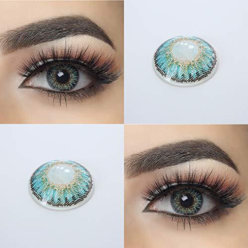 BHUJYG Kontaktlinsen, 2Pcs / Paar Bunte Kontaktlinsen für die Augen 3 Tone Serie Farbige Linsen für die Augen Kontakt mit Farbe Kosmetik Make-up Schönheit Schüler,Turquoise