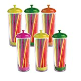 TELEVASO - 6x150 uds - Cañitas de plástico Color neón con dispensador (900 cañas en Total) - 21 cm de Largo - Desechables y reciclables - Pajitas Ideales para refrescos, zumos, Bebidas