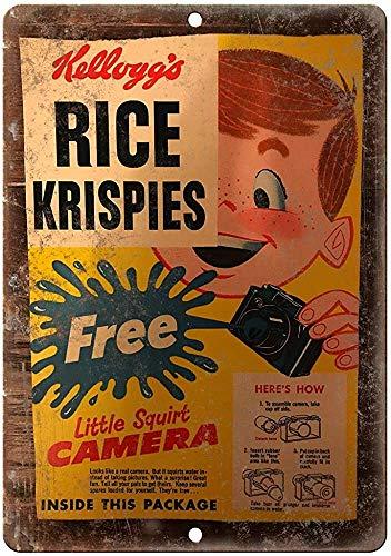 Mesllings Rice Krispies caja de cereales de lata placa de pared de metal con póster retro para colgar arte de hierro pintura vintage para patio, jardín, advertencia, cafetería, bar, bar, oficina, estadio, cine, baño, regalo, 20,3 x 30,5 cm