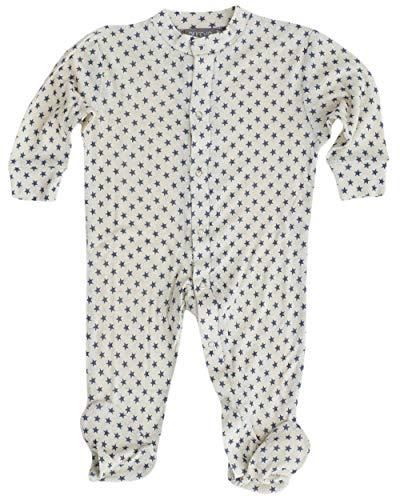 Alkena, Baby und Kinder Schlafanzug/Overall mit Fuß Stern, 100% Bourette Seide (56/62)