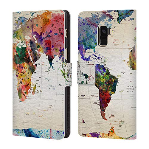 Official Mark Ashkenazi Map Of The World Pop Culture Leather Book Wallet Case Cover Compatible For Samsung Galaxy A8 (2018)