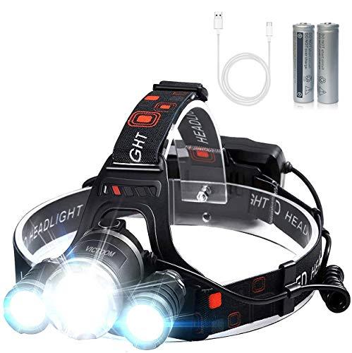 Linterna Frontal LED, Lámpara de Cabeza USB Recargable para Casco, Pesca, Bicicleta, Camping y Caza