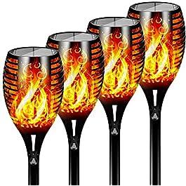 FLOWood Torche de Jardin Torche Solaire Lampes d'Eclairage de Flamme Imperméable LED Extérieures vacillantes de sécurité…