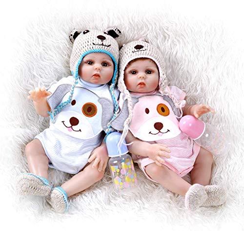 Scnbom 20inch 50cm Gemelli Reborn Maschio e Femmina Tutto Silicone Corpo Bambole Che sembrano Vere Bambola realistica Baby Dolls Originali Neonato bambile Toddler bambolotti Occhi Chiusi