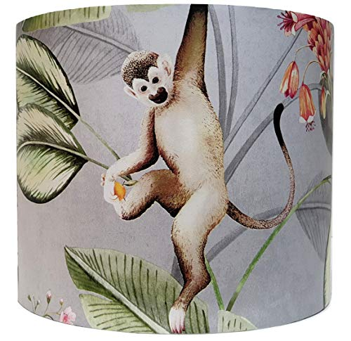 Jungle Animals Lampshade Ceiling Light Shade Drum Tropical Botanical Monkey Bedroom Accessories Gifts Animal Garden Grey (10')