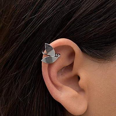 Boucle d'oreilles feuille d'olivier en argent sterling 925 fait à la main par Emmanuela pour oreilles non percées, boucle d'oreille hélice elfe fantaisie, Boucle oreill manchette fée