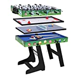 hj Table Multi Jeux 4 en 1 Pliante-Billard/Babyfoot/Hockey/Tennis de Table (gn02)