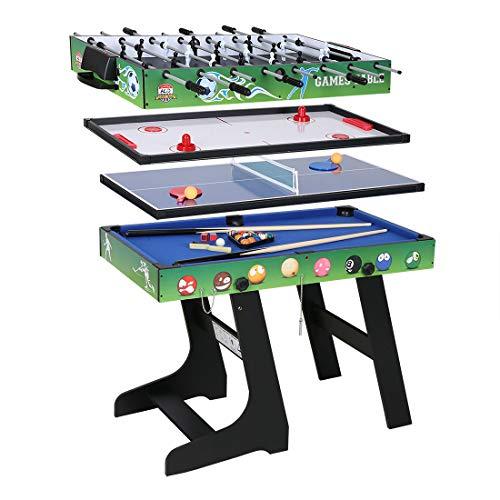 hj 4 en 1 Mesa de Juegos Multisport Combo Mesa de Billar / Hockey / Mesa de Ping-Pong / Futbolín con Patas Plegables 4 Pies Negro - Verde (Verde)
