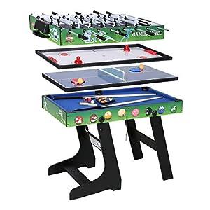 JCF 4 en 1 Mesa de Multijuegos Futbolín Mesa de Billar Hockey Mesa de PingPong con Patas Plegables 4 Pies Verde