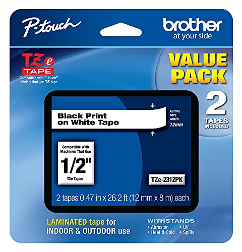 """Brother Genuine P-touch, TZe-231 2 Pack Tape (TZE2312PK) ½""""(0.47"""") x 26.2 ft. (8m) 2-Pack Laminated P-Touch Tape, Black on White, Perfect for Indoor or Outdoor Use, Water Resistant, TZE2312PK, TZE231"""