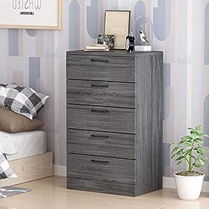 "5 Drawer Chest for Bedroom Grey, Living Room, Nursery, Wood, Sliding Rail,Classic, (29""L x 19""W x 49""H)"