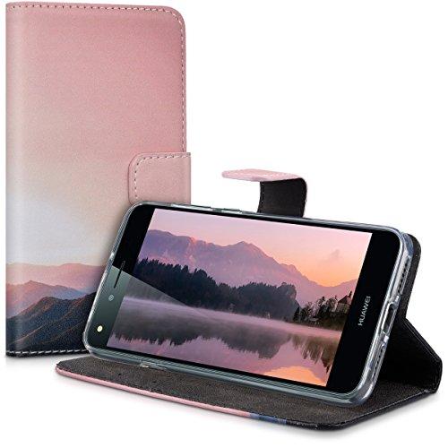 kwmobile Huawei Y6 II Compact (2016) Hülle - Kunstleder Wallet Case für Huawei Y6 II Compact (2016) mit Kartenfächern und Stand - Berg Morgenröte Design Altrosa Schwarz - 5