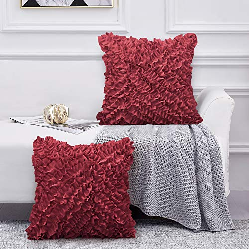Leeden 20x20 Throw Pillow Covers Set of 2, Decorative Square Boho Pillowcases Shams, Wine Red Cushion Cases Covers for Sofa Couch Bed Chair Bedding Décor Floral Soft Farmhouse 3D Handmade 20 Inch