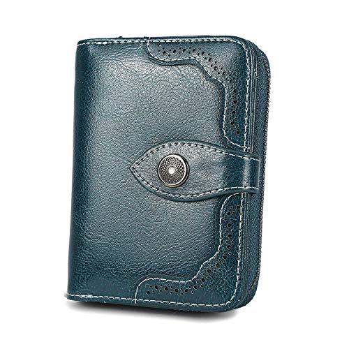 Vintage Echtes Leder Damen Geldbörse Klein Portemonnaie Frauen Geldbeutel mit Reißverschluss und Geschenkbox - Dunkelblau Pfaublau