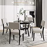 Merax 5-Piece Dining Set, Round Bottom Shelf, 4 Upholstered Chairs, Ideal for Kitchen, Dinning Room and Bar Table, Espresso and Beige