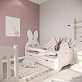 (70 x 180 cm sin colchón rosa) NeedSleep Conejo Protección anticaída Cama infantil completa – Cama con somier Cajón colchón 70 x 140 70 x 160 | Niños a partir de 2 años | Niñas | Montessori Habitación