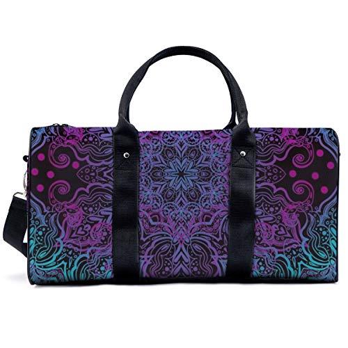 Sports Gym Bag,Seamless Oriental Ornament in The Style of Baroque Handbag Yoga Bag Shoulder Tote Weekend Bag Travel Holdall Duffel Bag for Adult Men Women