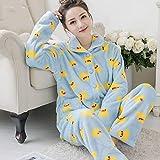 ZHRDRJB Conjunto De Pijamas para Mujeres,Invierno Azul Pato Coral Polar Pijama Conjunto Thicken Warm Suave Franela Homewear Ropa De Dormir Manga Larga Cárdigan Más Tamaño Pyjamas Sets Women,XL