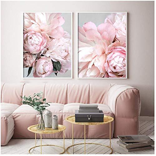 xwwnzdq 2 stück nordischen Stil rosa Pfingstrose wandkunst leinwand Poster drucken Blume malerei Dekoration Bild für Wohnzimmer dekor 50x70 cmx2 kein Rahmen