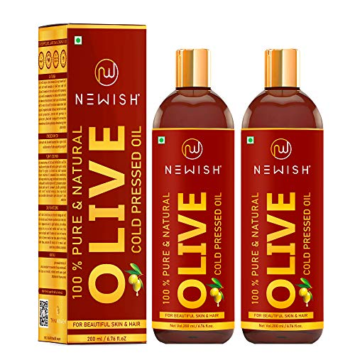 Newish® Pure Cold Pressed Olive Oil For Hair and Skin,200ml (Pack of 2)