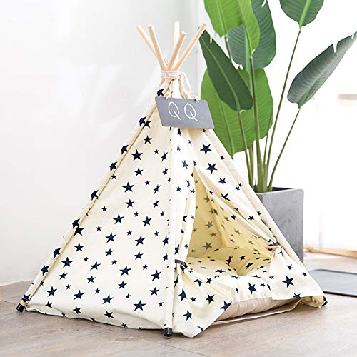 Absir Nest Warm Canvas Tent with Sleeping Cushion for Winter Pet Cats Dogs Supplies Beige stars (including cushions) S