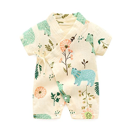 PAUBOLI Kimono Robe Newborn Cotton Yarn Robe Baby Romper Infant Japanese Pajamas (0-3 Months, Forest)