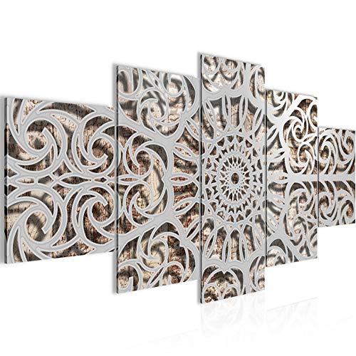 Runa Art - Cuadro Mandala Abstracto 200 x 100 cm 5 Piezas XXL Decoracion de Pared Diseño Gris 506151c