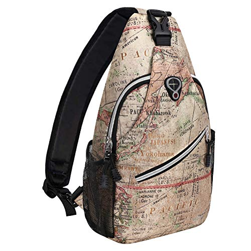 Black Base Floral MOSISO Sling Backpack,Travel Hiking Daypack Pattern Rope Crossbody Shoulder Bag