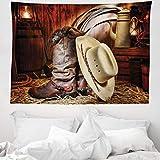ABAKUHAUS Western Wandteppich und Tagesdecke, Amerika Retro Rodeo, aus Weiches Mikrofaser Stoff Modernster Digitaldruck Technologie, 150 x 110 cm, Braun Beige