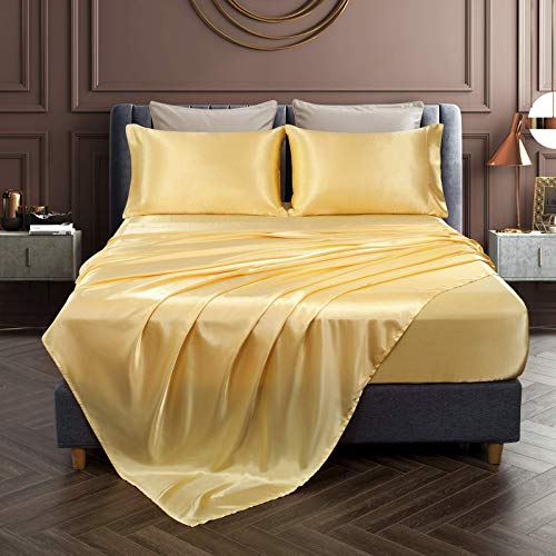 Chvonttow 4 Piece Satin Sheets King Size Luxury Silky Satin Bed Sheets Set, Wrinkle, Fade, Stain Resistant, 1 Deep Pocket Fitted Sheet + 1 Flat Sheet + 2 Pillowcases (Yellow)