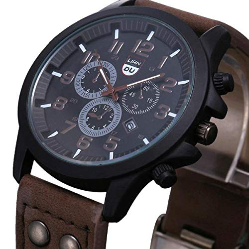Räumung Uhr FGHYH Männer Armbanduhr Military Leather Waterproof Date Quartz Analog Army Men\'s Quartz Wrist Watches Armbanduhr Uhr(Kaffee)