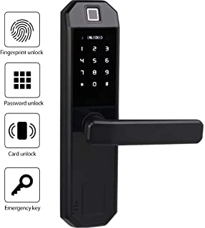 Fingerprint Door Lock, Satin Nickel Digital Biometric Deadbolt Touchscreen Keypad Keyless Smart Lock Electronic Entry Lock with Reversible Lever and Automatic Locking