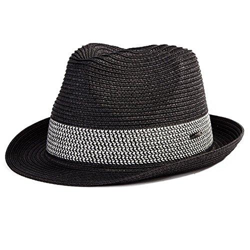 Comhats Strohhut Panamahut Sonnenhut Fedora Hut Handgemacht Herren schwarz L