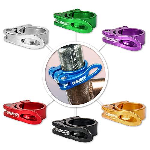 Drahtesel Fahrrad Schnellspanner, Sattelstütze, Sattel-klemme, Sattel-schelle, Klemmring, Sattelstützenklemme, Schnellverschluss in 28,6mm, 30,2mm, 31,8mm, 34,9mm (Blau, 28,6mm)