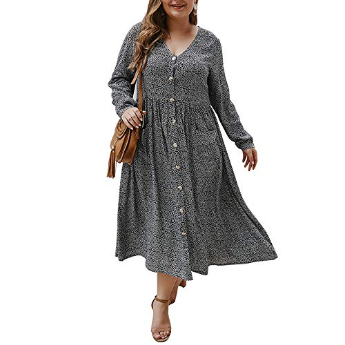 Damen Übergröße, lässiges Midi-Kleid, langärmelig, Blumenmuster, Knopfleiste, V-Ausschnitt, A-Linie, Flowy Partykleid, XL - 4XL - Schwarz - XX-Large