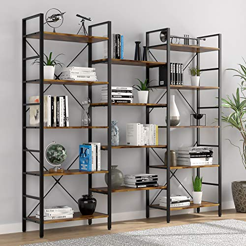 oneinmil Triple Wide 5-Shelf Bookcase Industrial Vintage Wood Style Large Open Bookshelves for Home&Office