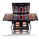 YOLANDEK 180 Colors Eyeshadow Palette Makeup Contouring Kit with 2 Face Powder, 2 Blusher, 1 Eyeliner Pencil, 6 brushs and 6 Eyebrow - All in One Makeup Gift Set,1