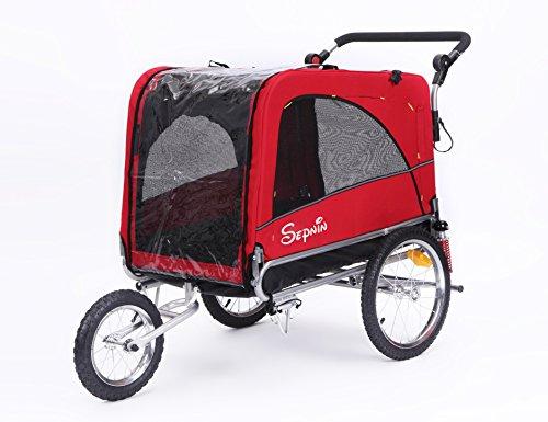 Sepnine & Leonpets Dog cart of 3 in 1 Luxury Large Sized Bike Trailer Bicycle Pet Trailer/Jogger/Dog Cage with Suspension 10308 (Red/Black)