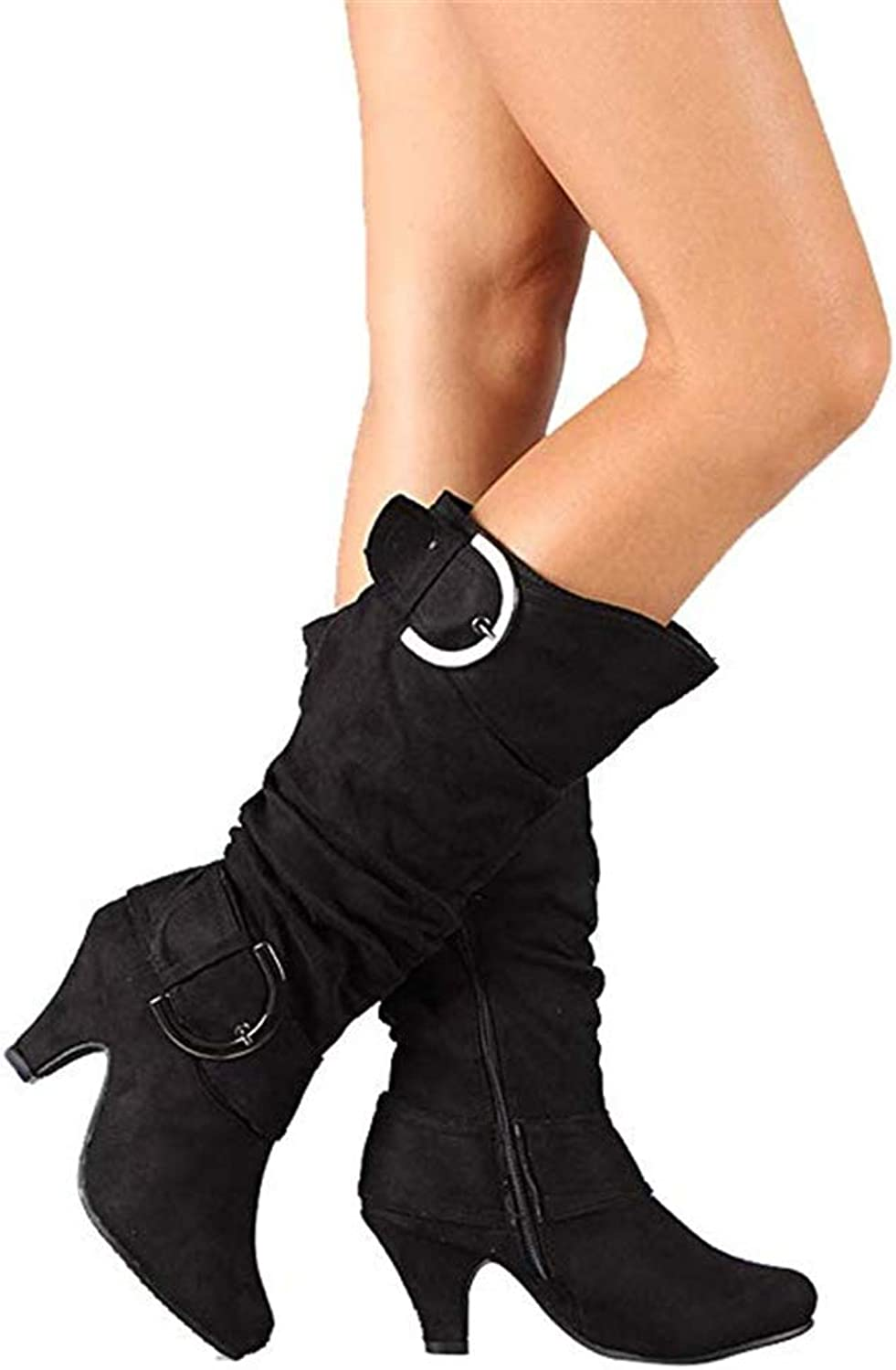 Suede Riding Boots for Women Slouchy Knee High Buckle Strappy Zipper Heels shoes