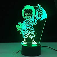 Anime ONE 3DLEDナイトライトロロノアゾロフィギュアナイトライト飾るUSBテーブル子供向け3Dライトギフトキッズルーム
