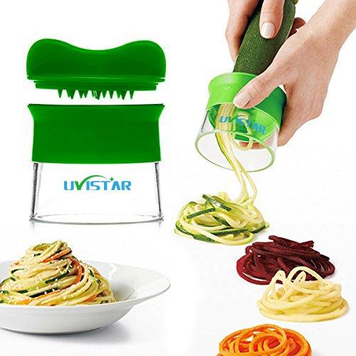 Hand Held spiralizer,Verdure affettatrice, Uvistar Good Grips di verdure a spirale taglierina Tagliatelle zucchine, carote, patate, barbabietole, cetriolo Spaghetti Pasta Maker