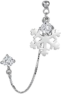 CZ Snowflake Double Piercing Tassel Chain Drop Dangle Ball Bead Stud Earrings for Women Girls S925 Sterling Silver Crystal 2 Hole Helix Cartilage Post Pin Jewerly Cute Dainty Christmas Gifts One Piece
