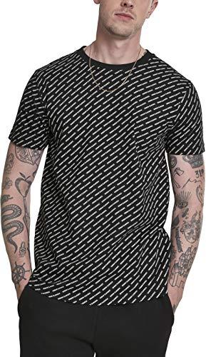 Urban Classics Herren Allover Logo Tee T-Shirt Schwarz (Black 00007) XXXX-Large (Herstellergröße: 4XL)