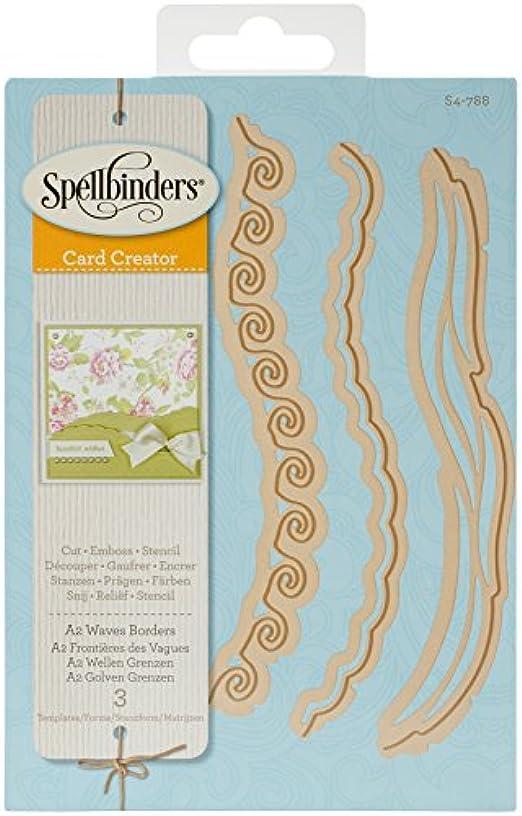 Spellbinders Card Creator A2 Waves Borders Etched Dies, Brown