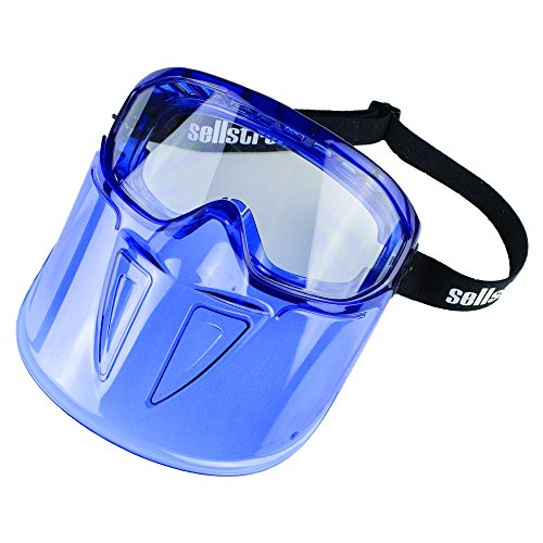 Sellstrom UV Protective, Anti-Fog Coating, Protective Safety Goggle with Polycarbonate Chin Guard, Clear Lens, Blue, S80300
