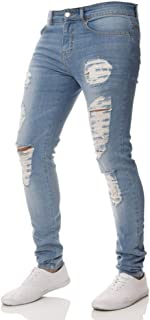 WXKDH Jeans Pants Men Solid Black Ripped Jeans Men Ripped Beggar Jeans