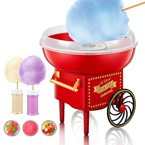Cotton Candy Machine Maker, 500W Candy Floss Machine Maker, Red Vintage Design, Party Gift for Children and Adult Fairground Style Cotton Candy