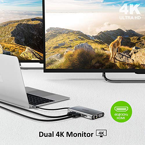 Omars Docking Station USB C Hub, Triple Display 11 Port USB C Adapter mit 2 HDMI, VGA, Typ C PD, Gigablit Ethernet, 4 USB Ports, SD/TF Kartenleser Kompatibel für MacBook Pro/Air und Mehr Typ C Geräte